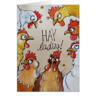 Senhoras do FENO - é tempo do partido de galinha! Cartão Comemorativo