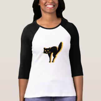 Senhoras do gato de Scaredy 3/4 de branco cabido Tshirts