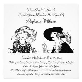 Senhoras do vintage com o chá de panela elegante convite personalizado