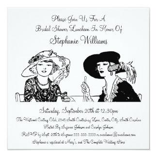 Senhoras do vintage com o chá de panela elegante convite quadrado 13.35 x 13.35cm