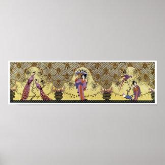 Senhoras e pavões japoneses do art deco pôster
