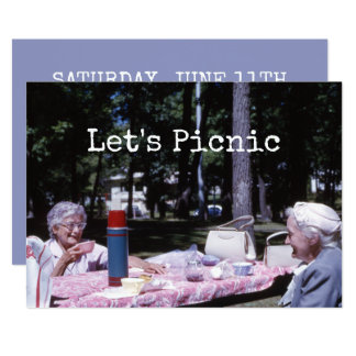 Senhoras idosas do piquenique do verão Decked para Convite 12.7 X 17.78cm