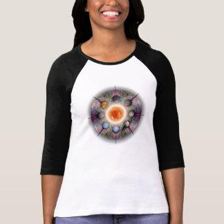 Senhoras planetárias da mandala 3/4 de Raglan da Camisetas