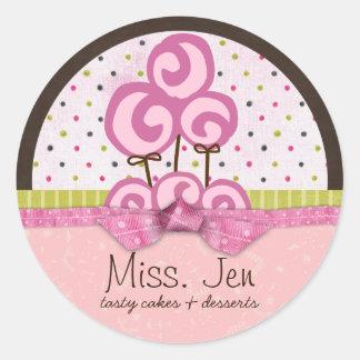 Senhorita. Etiquetas da mercadoria de Jen Lolli Adesivo Em Formato Redondo