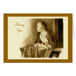 Senhorita Você: Arte do lápis: Mulher em um balcão Cartões