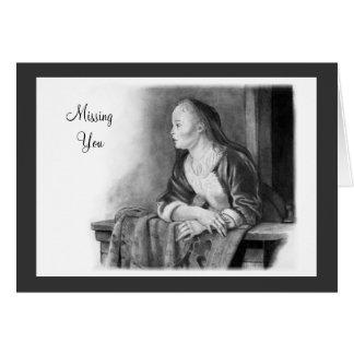 Senhorita Você: Arte do lápis: Mulher em um balcão Cartão Comemorativo