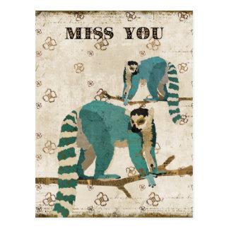 Senhorita Você Azure Lemurs Cartão