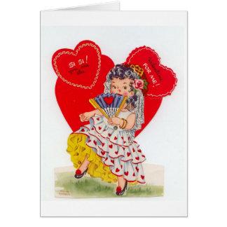 Senorita espanhol Namorados do vintage Cartao