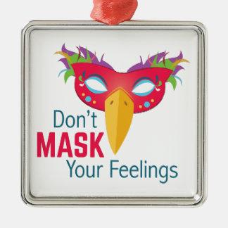 Sentimentos da máscara ornamento quadrado cor prata