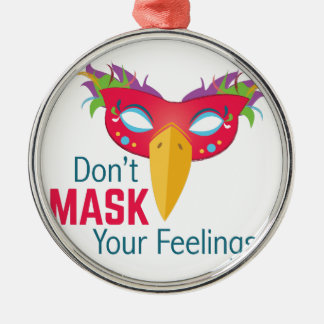 Sentimentos da máscara ornamento redondo cor prata