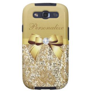Sequins, arco & diamante do ouro personalizados capas personalizadas samsung galaxy s3