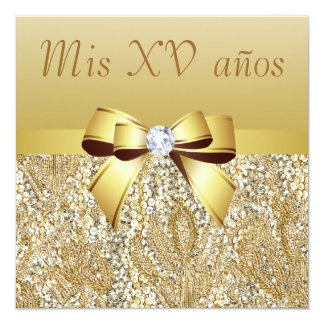Sequins do ouro, arco & diamante Quinceanera Convite Quadrado 13.35 X 13.35cm
