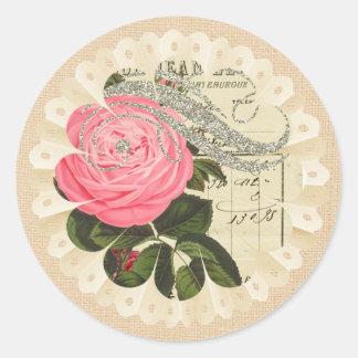 Serapilheira de Shabbychic e etiqueta do laço Adesivos Redondos