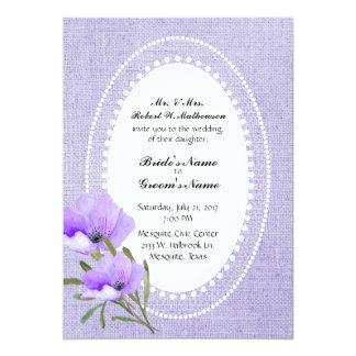 Serapilheira e flores da lavanda que Wedding o Convite 12.7 X 17.78cm