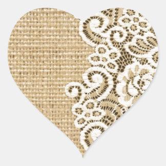 serapilheira e laço femininos rústicos do país adesivo coração