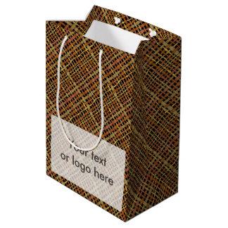 Serapilheira natural gráfica áspera rústica das sacola para presentes média