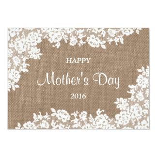 Serapilheira rústica feliz do dia das mães | & convite 12.7 x 17.78cm