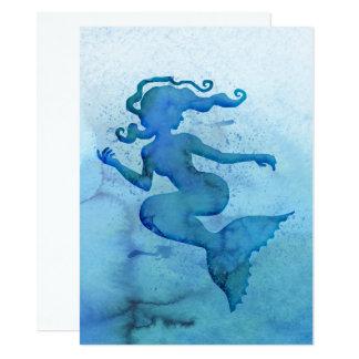 Sereia azul da aguarela convite 13.97 x 19.05cm