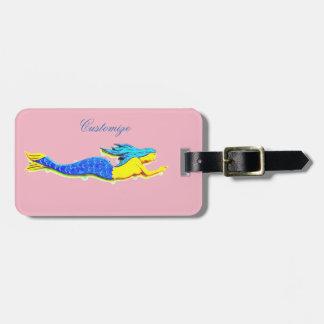 sereia azul subaquática alguma cor etiqueta de bagagem