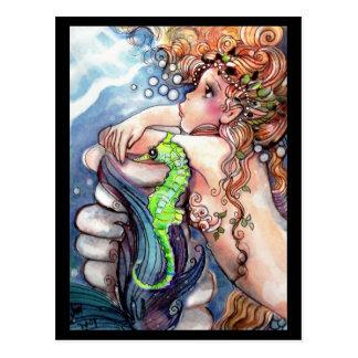 Sereia & cartão verde-claro do cavalo marinho