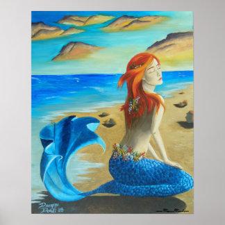 Sereia da praia do poster da sirene do poster da