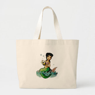 Sereia da reggae da velha escola sacola tote jumbo