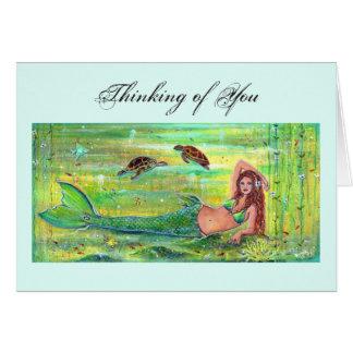 Cartão Sereia do calipso com o cartão das tartarugas de