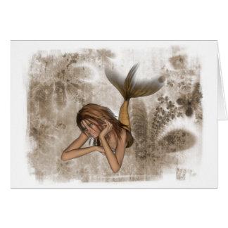 Sereia do fundo 3D do Fractal Cartão Comemorativo