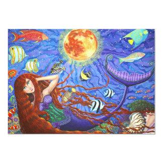 Sereia do Redhead no espartilho com lua e peixes Convite 12.7 X 17.78cm
