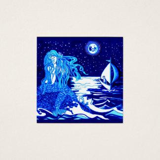 Sereia e marinheiro cartão de visitas quadrado