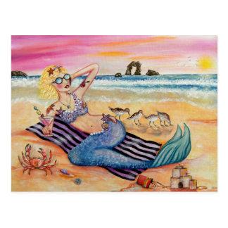 Sereia em férias cartão postal