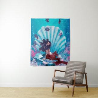Sereia na tapeçaria média da parede de Shell
