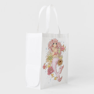 Sereia (rosa) sacolas reusáveis