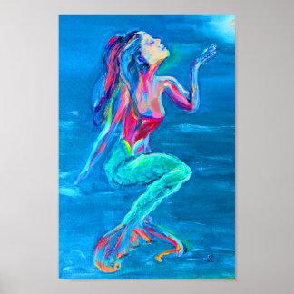Sereia sob o poster do mar