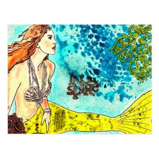Sereia tranquilo das águas do cartão