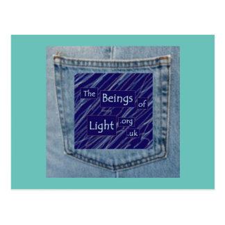 Seres do bolso de jeans do cartão claro do design cartão postal