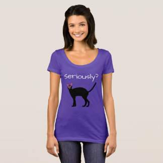 Seriamente? T-shirt engraçado do gato Camiseta