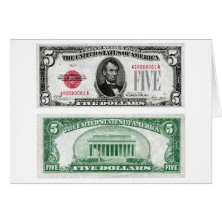 Série 1928 da cédula da moeda legal de $5 dólares cartão comemorativo