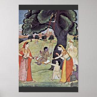Série de Râgmâlâ da cena: Krishna no balanço por I Posters