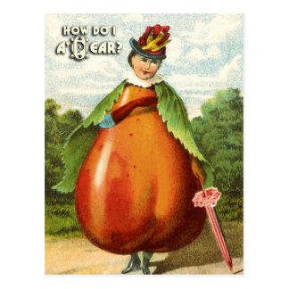 Série do cartão da fruta do vintage: Pera