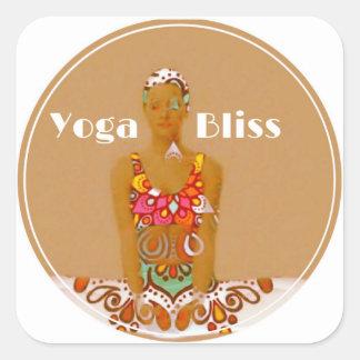 Série do papel de embrulho da felicidade da ioga adesivo quadrado