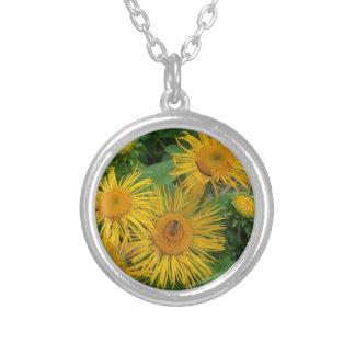Série floral colar banhado a prata