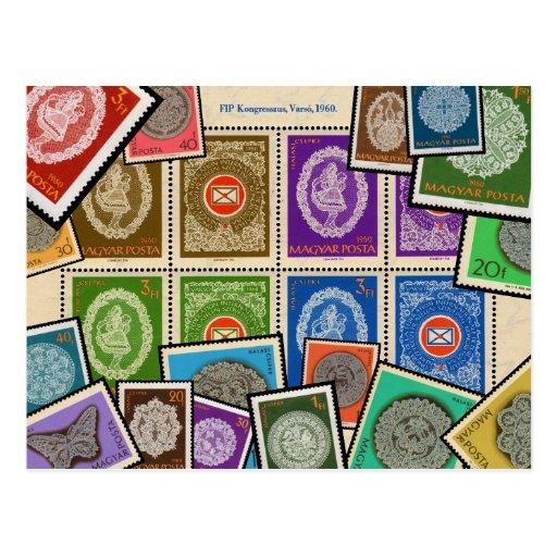 Série húngara do selo do laço - 1960 cartões postais