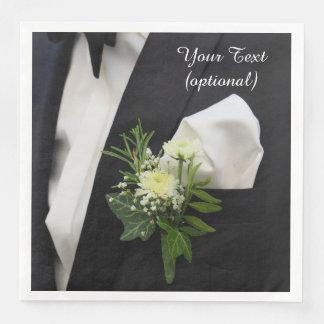 Série preta com lapela floral nos guardanapo de