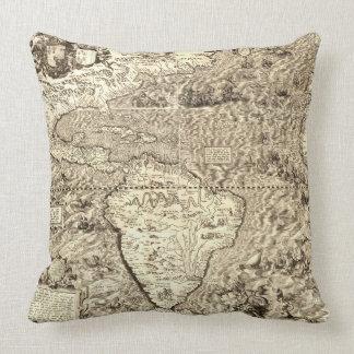 Serpentes de mar do mapa do mundo almofada