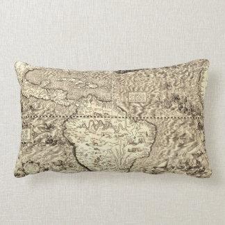 Serpentes de mar do mapa do mundo almofada lombar