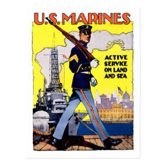 Serviço ativo na terra e no mar cartão postal
