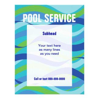 Serviço da piscina com texto feito sob encomenda panfletos