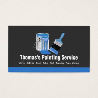 Serviço profissional da pintura - escova azul do cartão de visitas