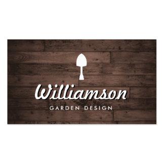 Serviços de jardinagem da madeira rústica branca cartão de visita